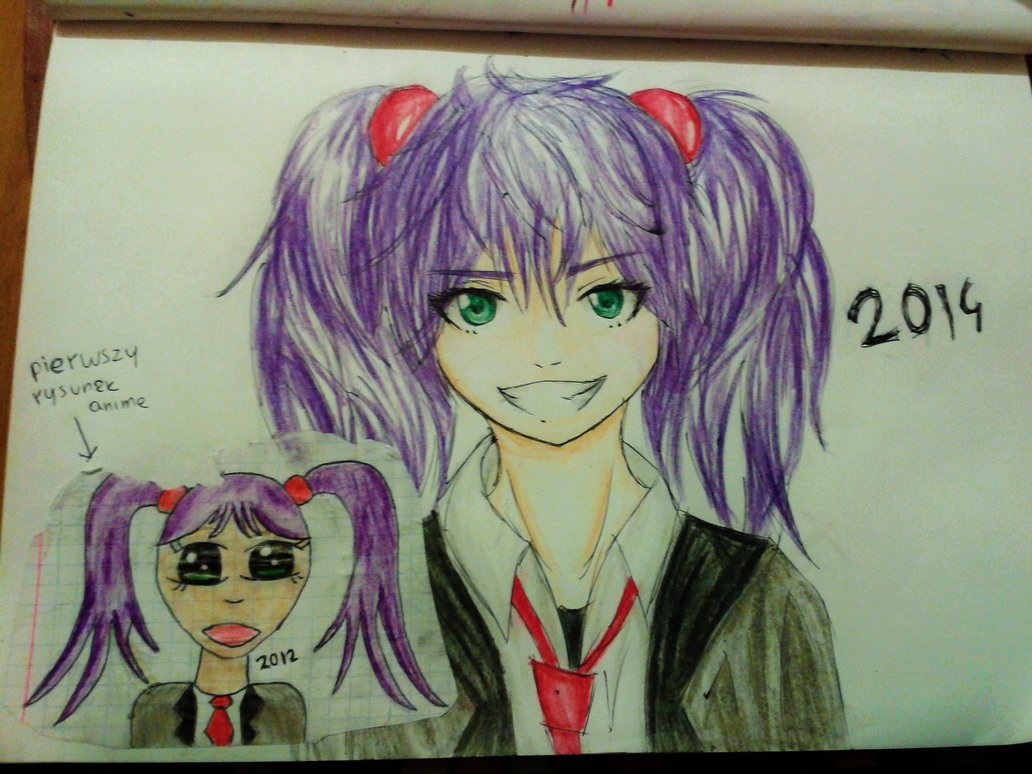 1032x774 My First Anime Drawing (2012) And Redraw (2014) By Dead Viktor
