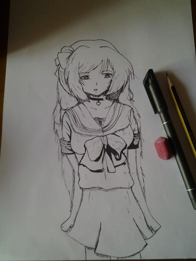 652x869 My First Anime Drawing With Black Ink By Taniyauzumaki