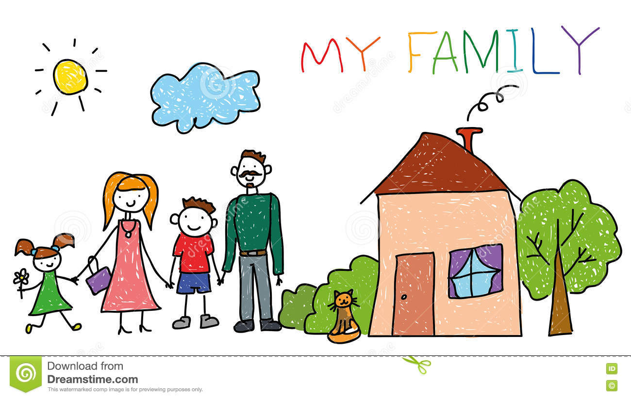 1300x823 Drawing Of My Family Family In Kids Drawing Style Stock Vector