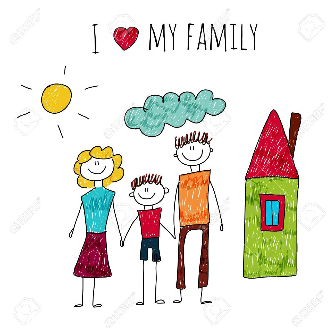 1300x1300 Illustration I Love My Family. Kids Drawing Royalty Free Cliparts