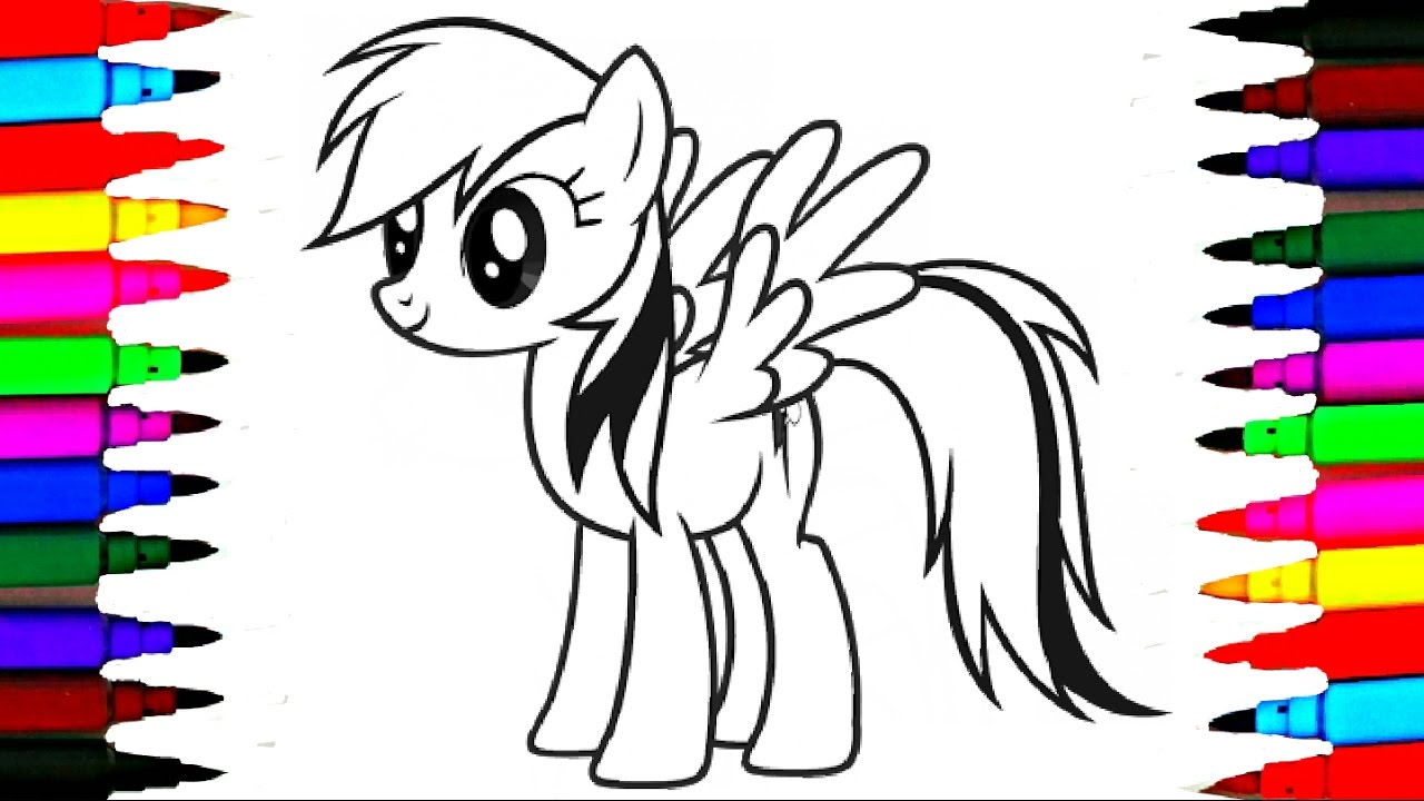 1280x720 Learn Colors By Coloring Mlp Rainbow Dash L My Little Pony Drawing