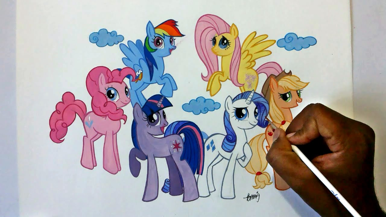 1280x720 How To Draw My Little Pony Friendship Is Magic Six Ponies Group