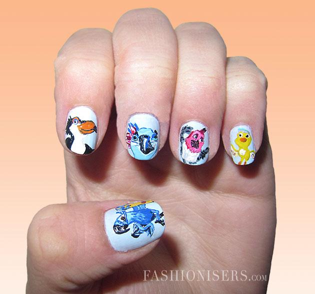630x588 20 Cute Cartoon Inspired Nail Art Designs Fashionisers