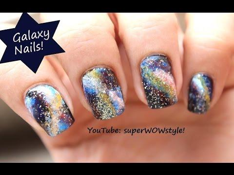 480x360 Galaxy Nail Art Tutorial No Drawing!