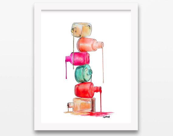570x446 Items Similar To Nail Polish Dripping In Color Print Wall Art
