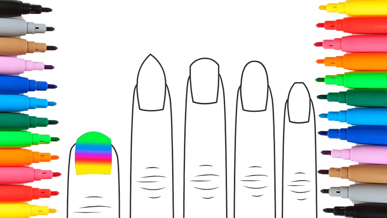 1280x720 HOW TO DRAW AND COLOR NAILS A Learn The Colors By Drawing Inside