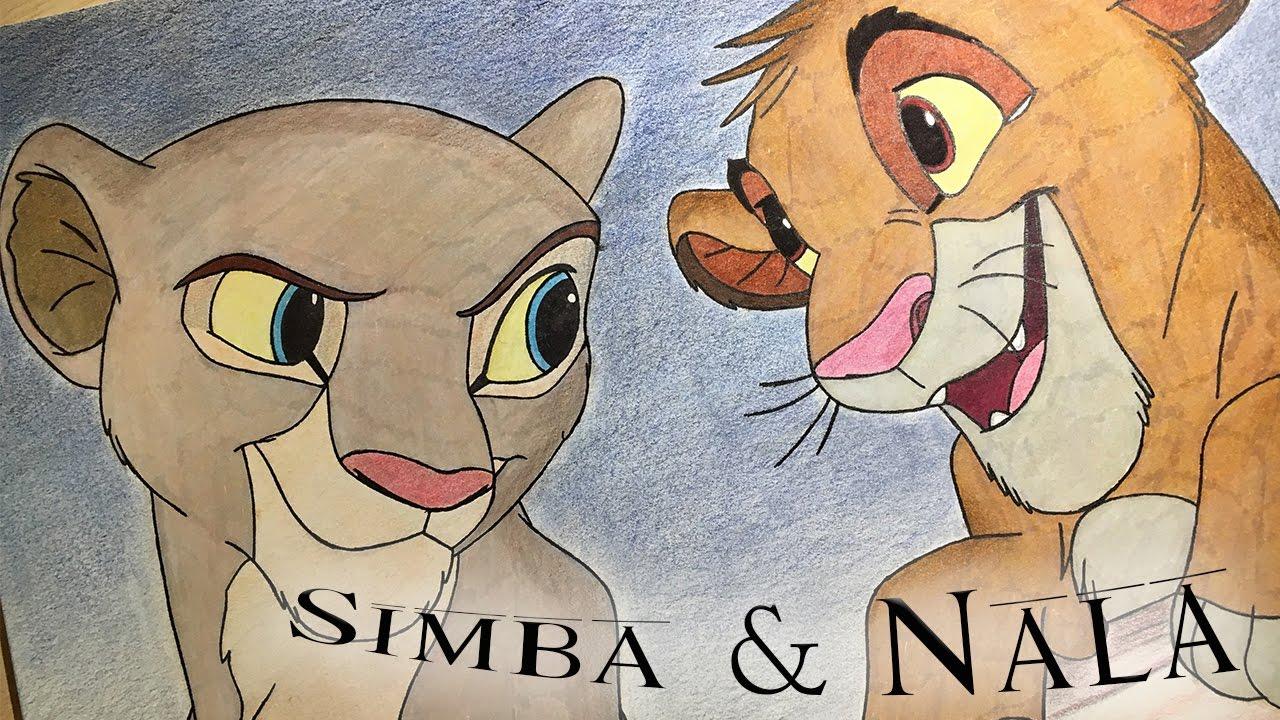 1280x720 Drawing Simba And Nala (The Lion King)