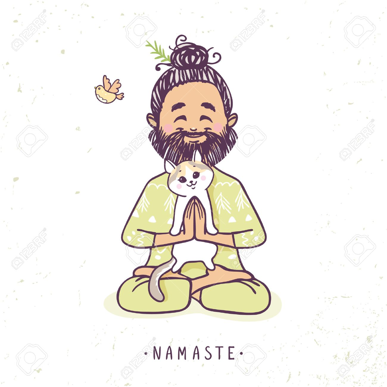 1300x1300 Character Positive Man With Cute Cat In Greeting Pose Namaste
