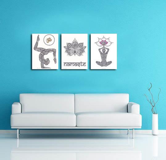 538x518 Yoga Wall Decor Om Namaste Drawing Set 3 Prints Yoga Art