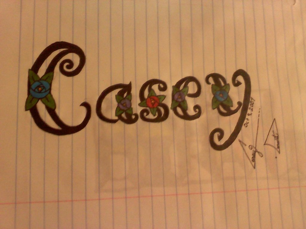 1024x768 Casey Name Drawing By Littlered333
