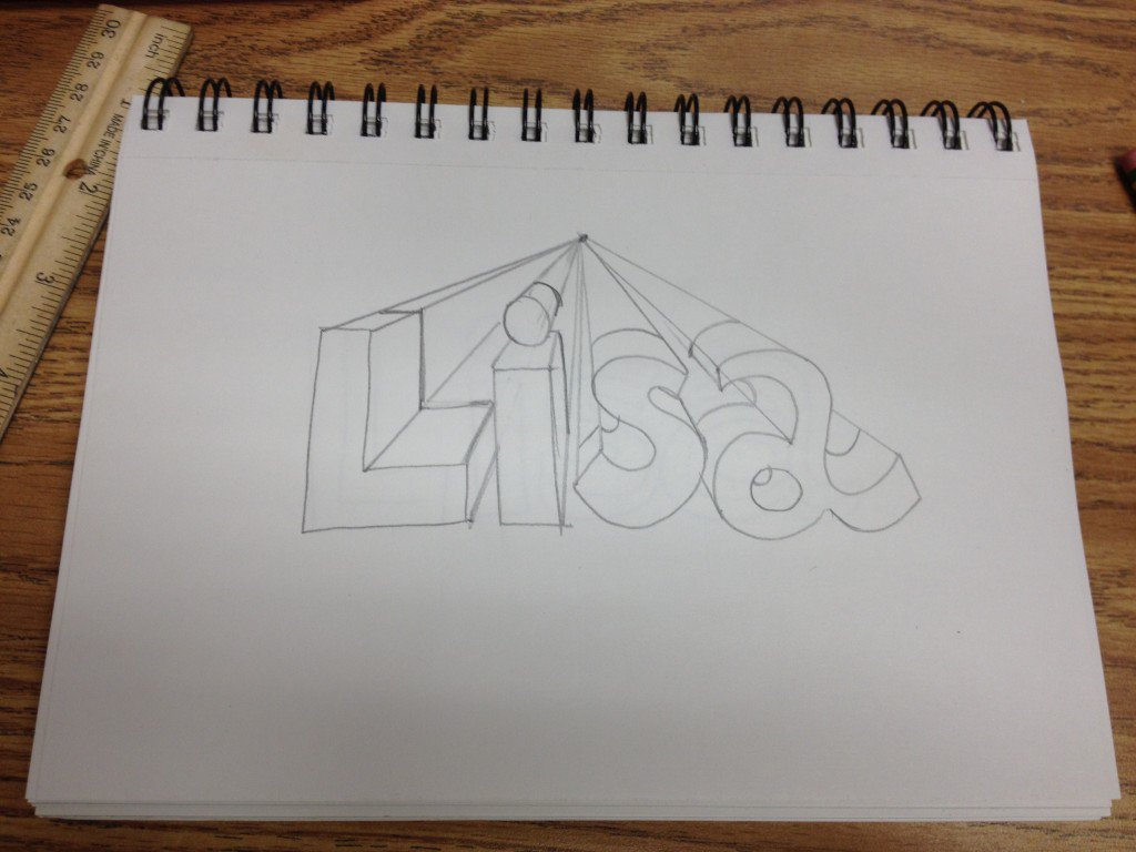1024x768 One Point Perspective Name Art With Ms. Long