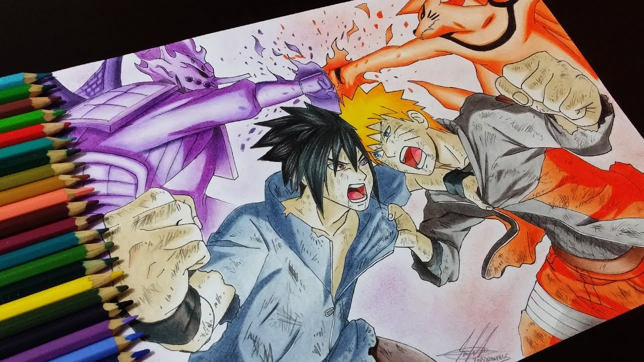 1280x720 Drawing Naruto Vs Sasuke
