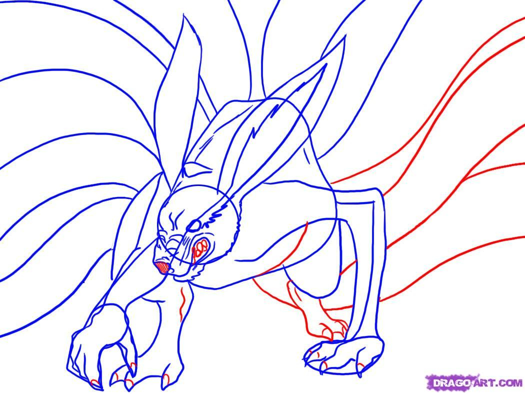 1050x788 Nine Tailed Fox Drawing How To Draw Nine Tailed Fox, Step By Step