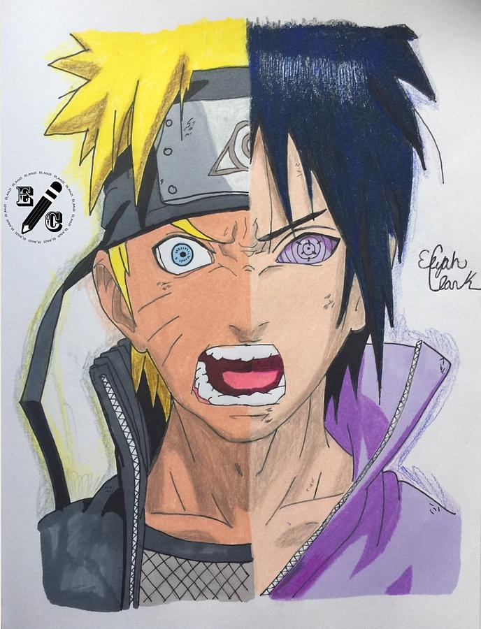 688x900 Naruto V Sasuke Drawing by Elijah Clark
