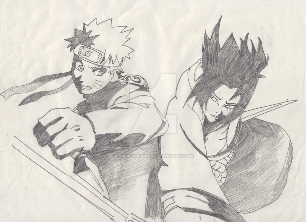 1024x744 naruto and sasuke pencil drawing by pinklesasidharan on deviantart