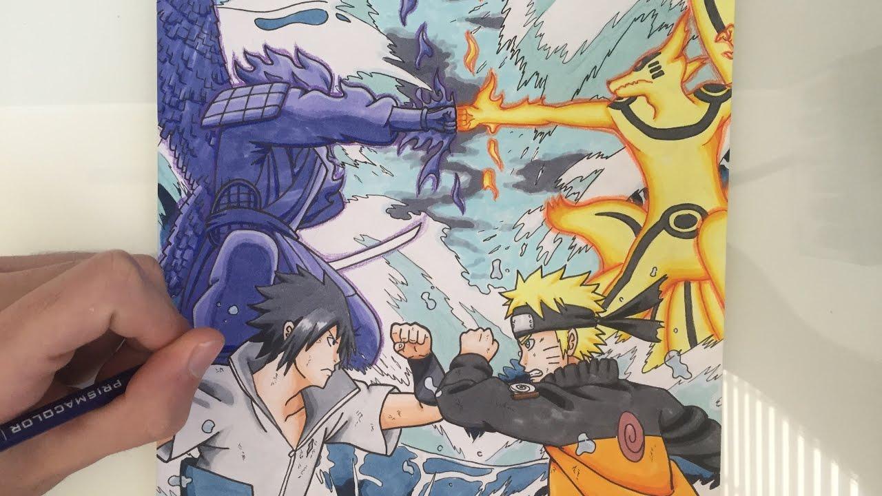 1280x720 Drawing Naruto Vs Sasuke Final Fight