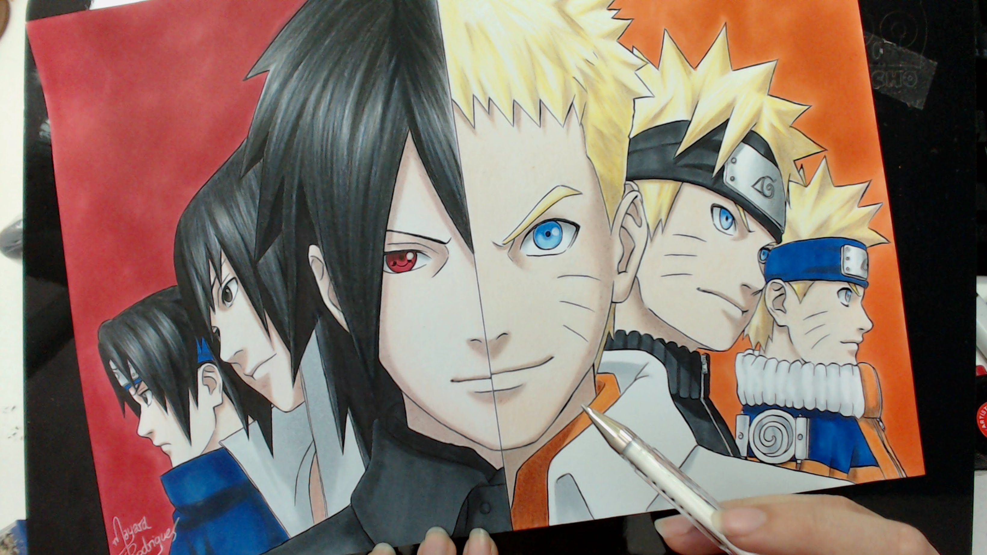 3280x1845 Naruto And Sasuke Drawing Speed Drawing