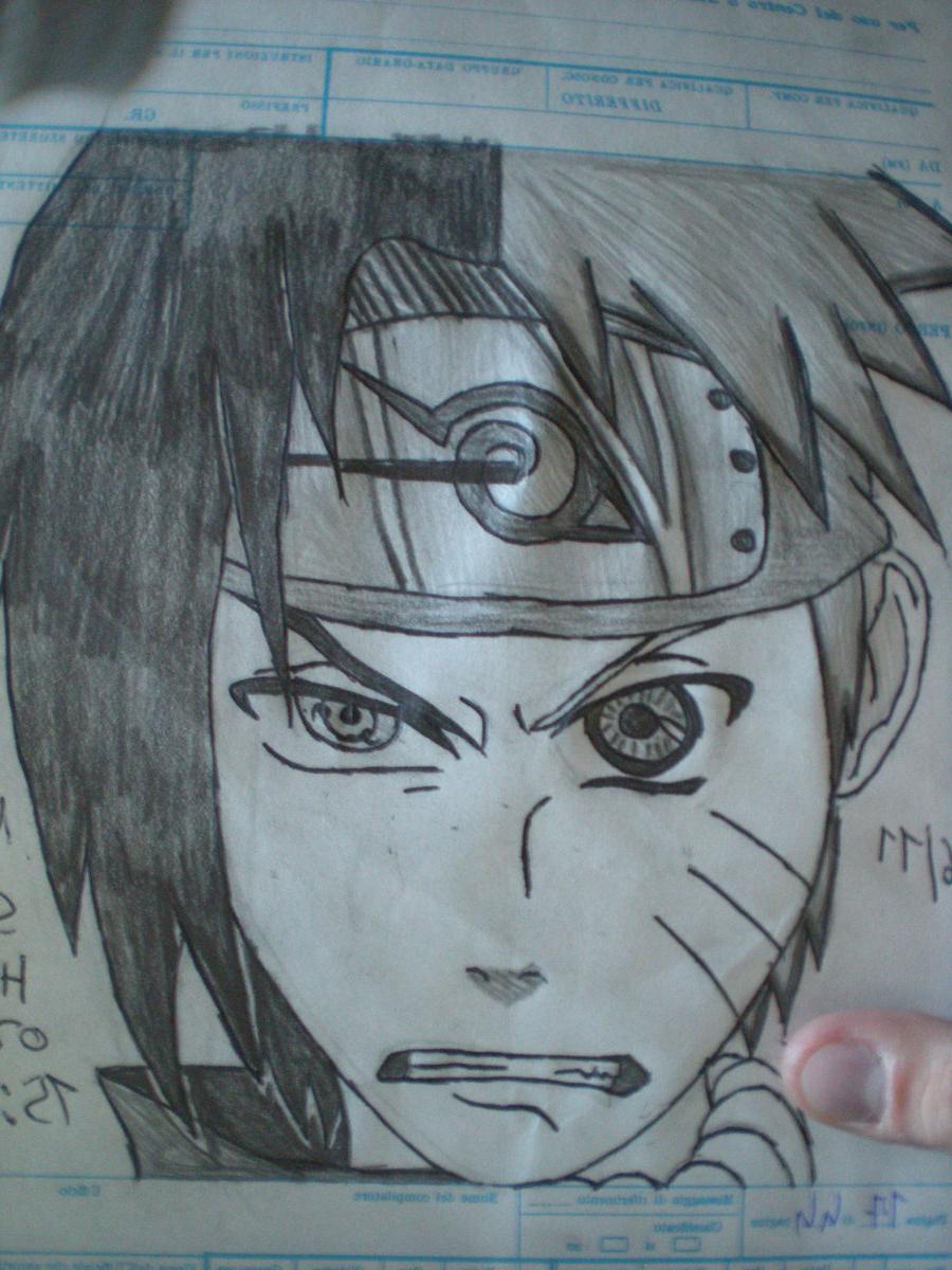 900x1200 Naruto Sasuke Drawing Face Naruto Vs Sasuke Half Face By Cihiro97