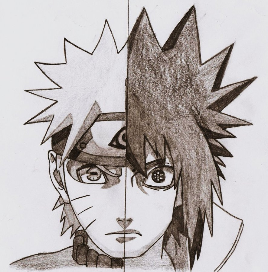 886x901 Naruto Vs. Sasuke Shippuden By Apolonos