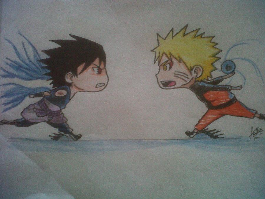 900x675 Naruto Vs Sasuke Chibi By Chapalote