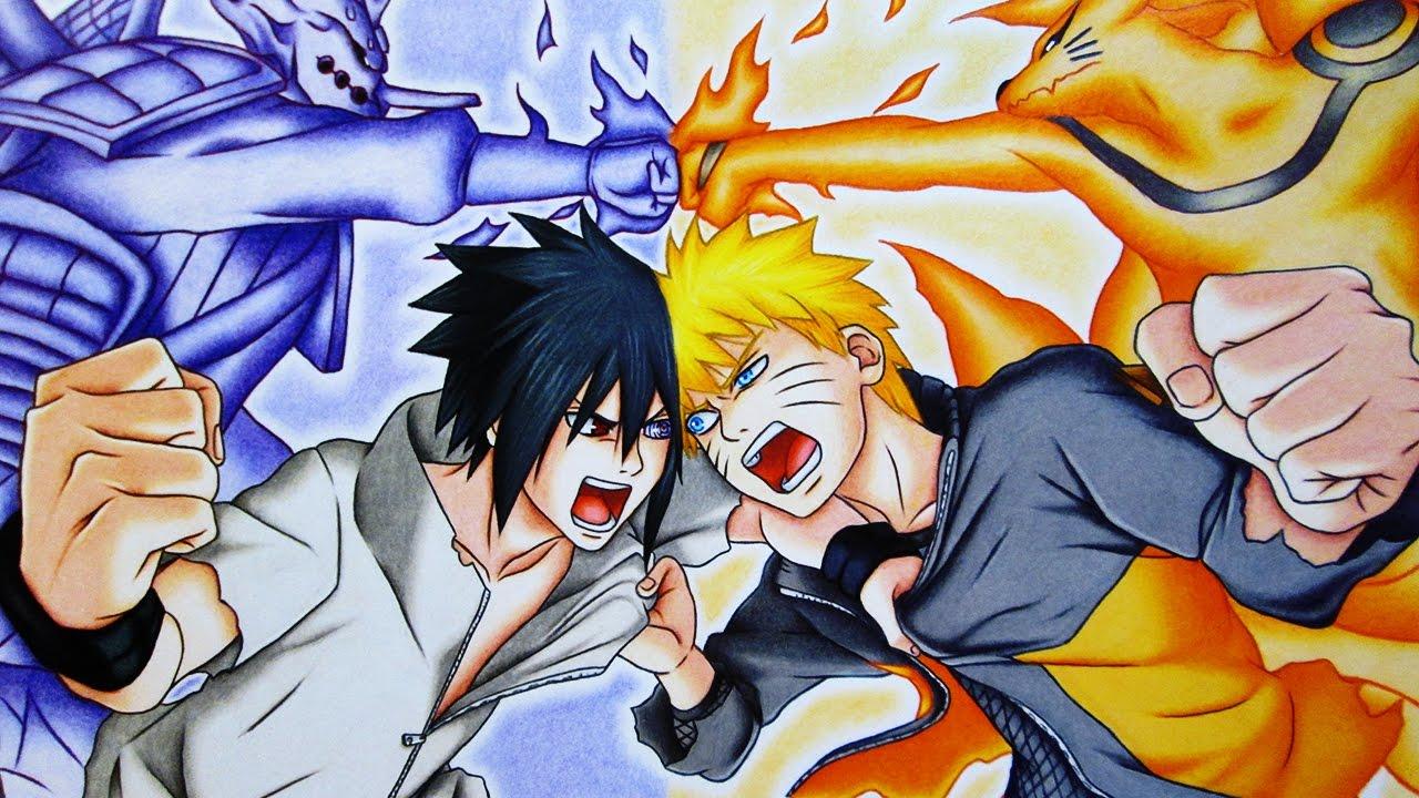 1280x720 Speed Drawing Naruto Vs Sasuke Final Battle Naruto Shippuuden