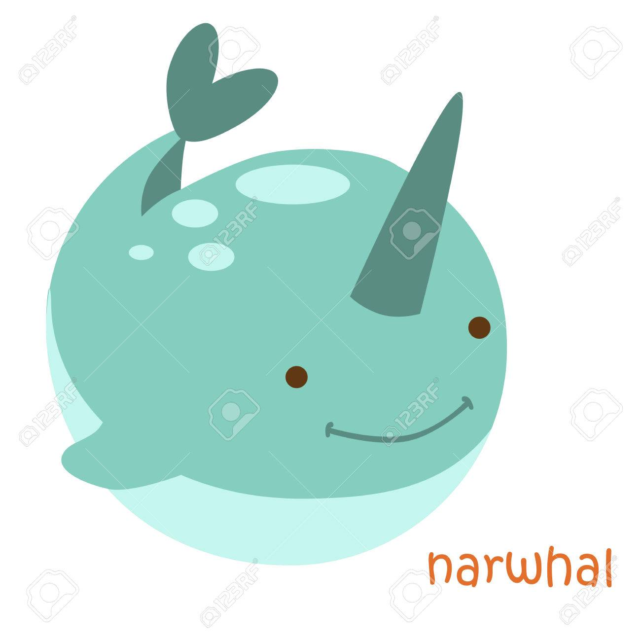 1300x1300 Narwhal Isolated. Drawing Narwhal For A Child Stock Photo, Picture