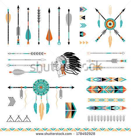 450x470 Arrows, Indian Elements, Aztec Borders And Embellishments By Lera