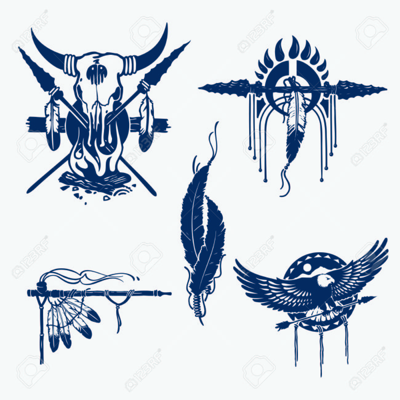 1300x1300 Native American Indians Illustration Set (Bow And Arrow, Tomahawk