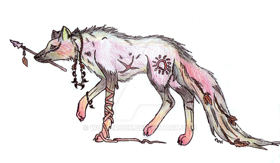 900x527 Native American Wolf By Wolfzrock