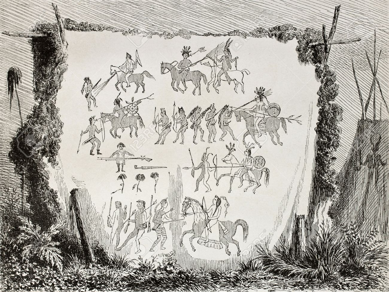 1300x975 Old Illustration Of Native American Art Drawings