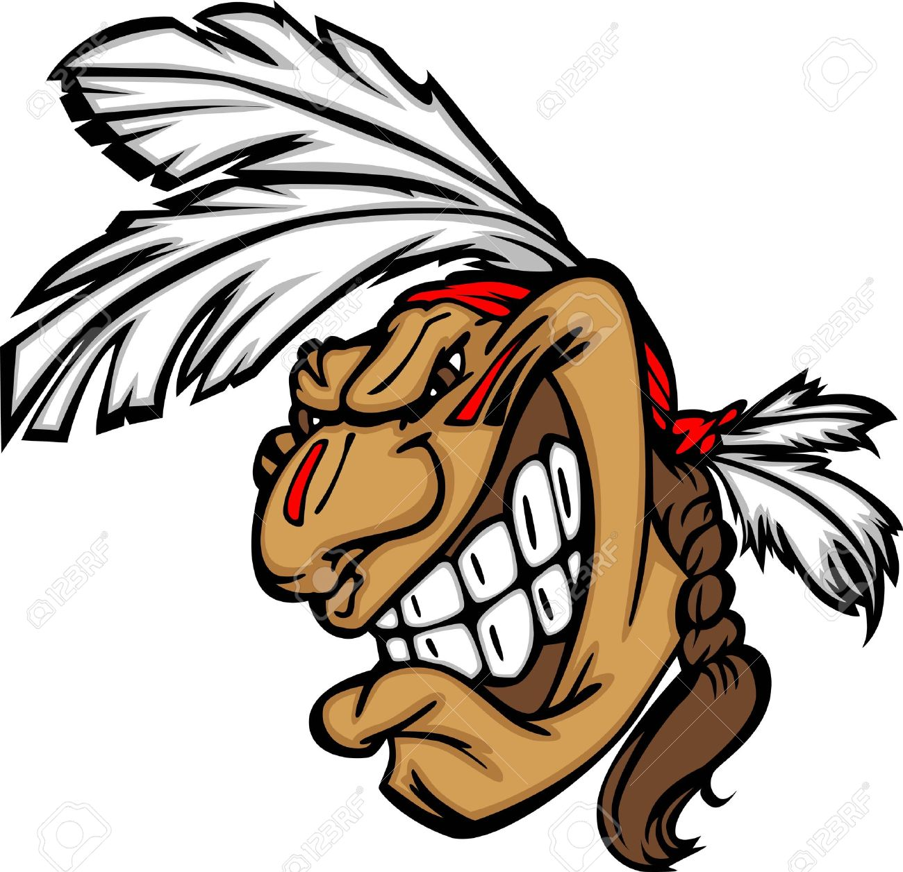 1300x1256 Cartoon Native American Indian Brave Mascot With Feathers