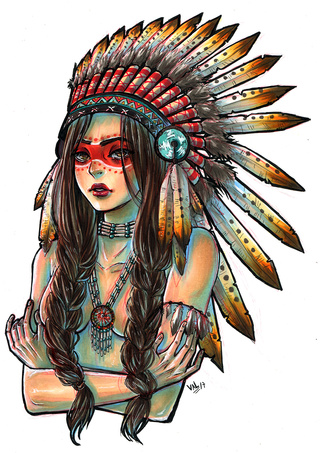 320x453 Native American Girl Commission Copic Markers On Bristol Paper