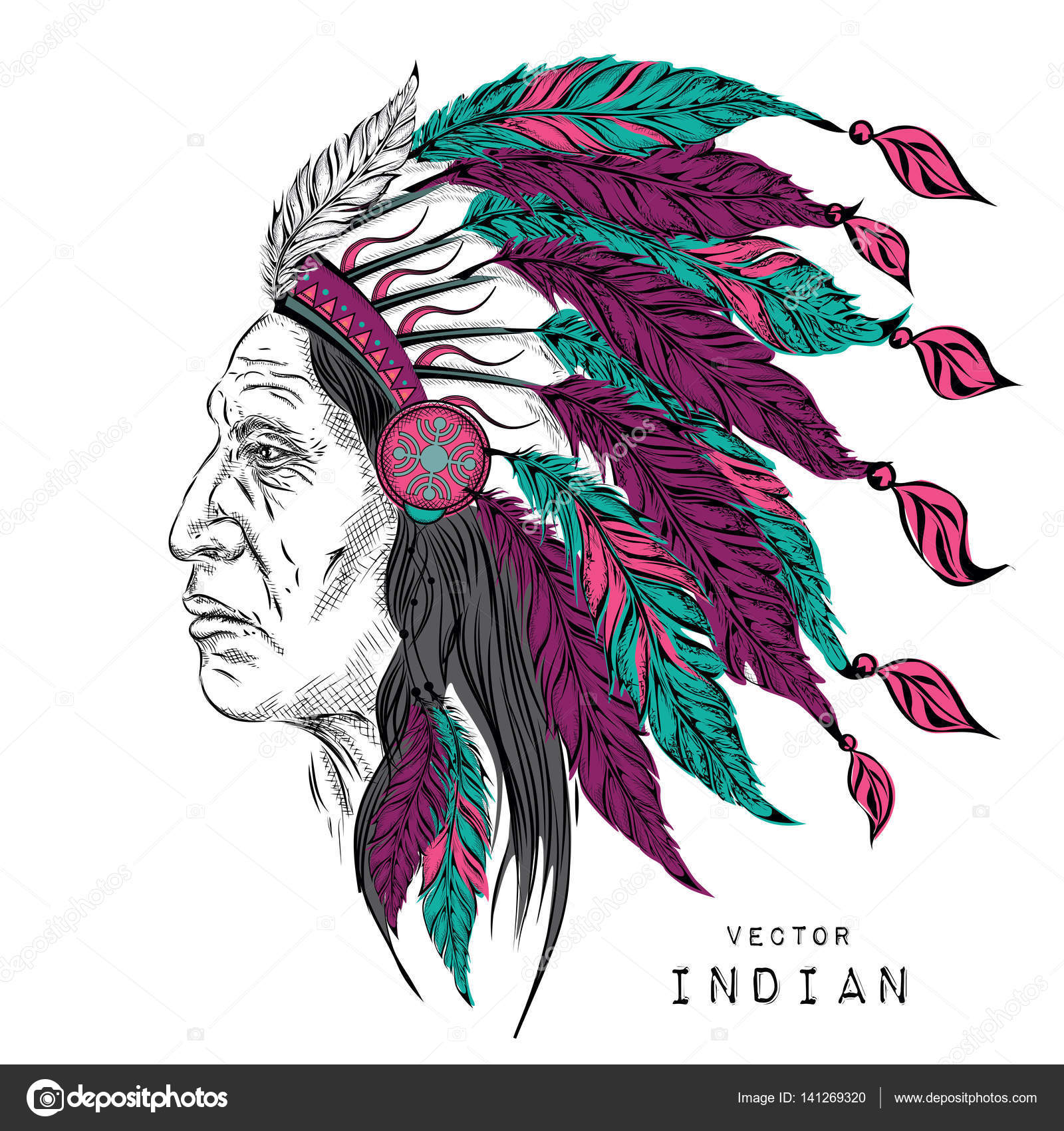1600x1700 Man In The Native American Indian Chief. Black Roach. Indian