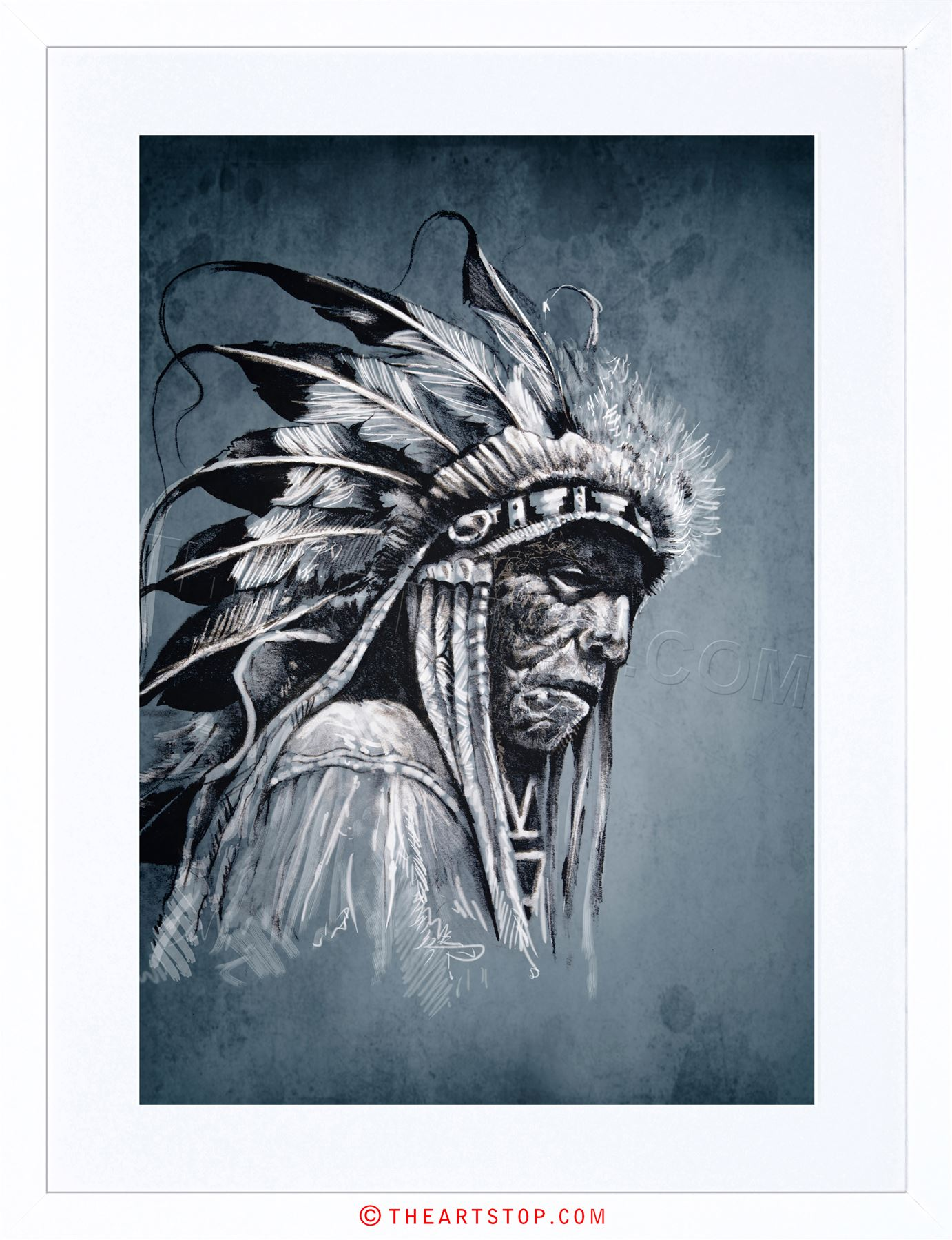 1382x1800 Painting Drawing Portrait Study Native American Chief Framed Print