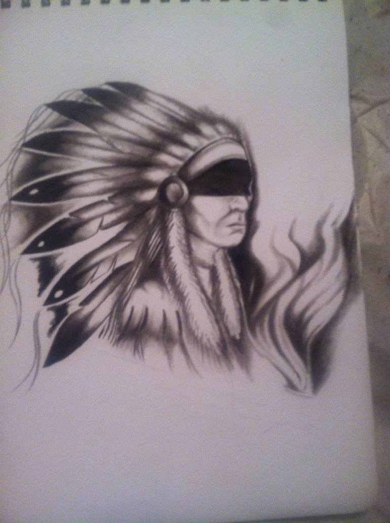 770x1031 Saatchi Art Native American Chief Drawing By Autumn Woptura