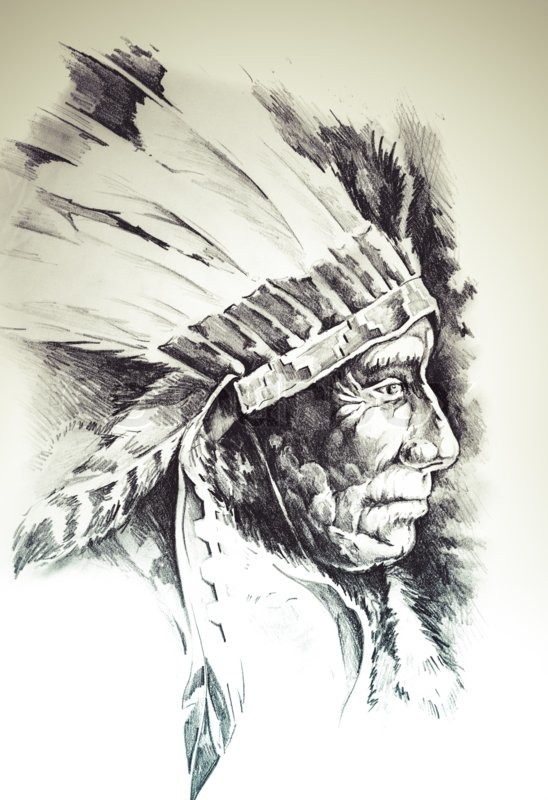 548x800 Sketch Of Tattoo Art, Native American Indian Head, Chief, Isolated
