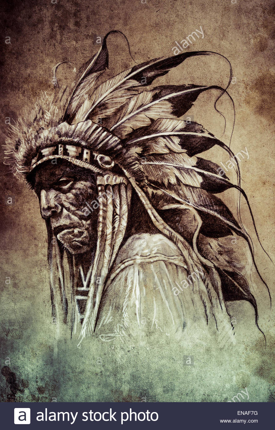 889x1390 Sketch Of Tattoo Art, Native American Indian Head, Chief, Vintage