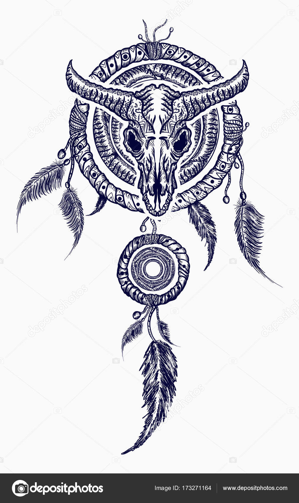 1010x1700 Bison Skull And Indian Dream Catcher Tattoo. Tribal Art Stock