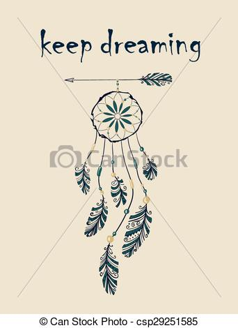 342x470 Card With Native Indian American Dreamcatcher Hanging On Vector