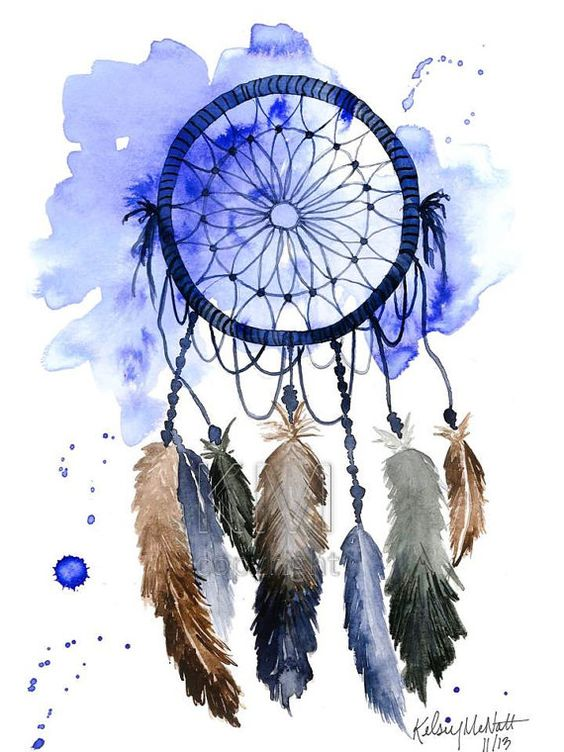 564x752 Dream Catcher, Print Of Original Watercolor Painting