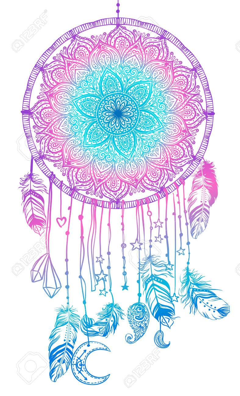 787x1300 Hand Drawn Native American Indian Talisman Dreamcatcher