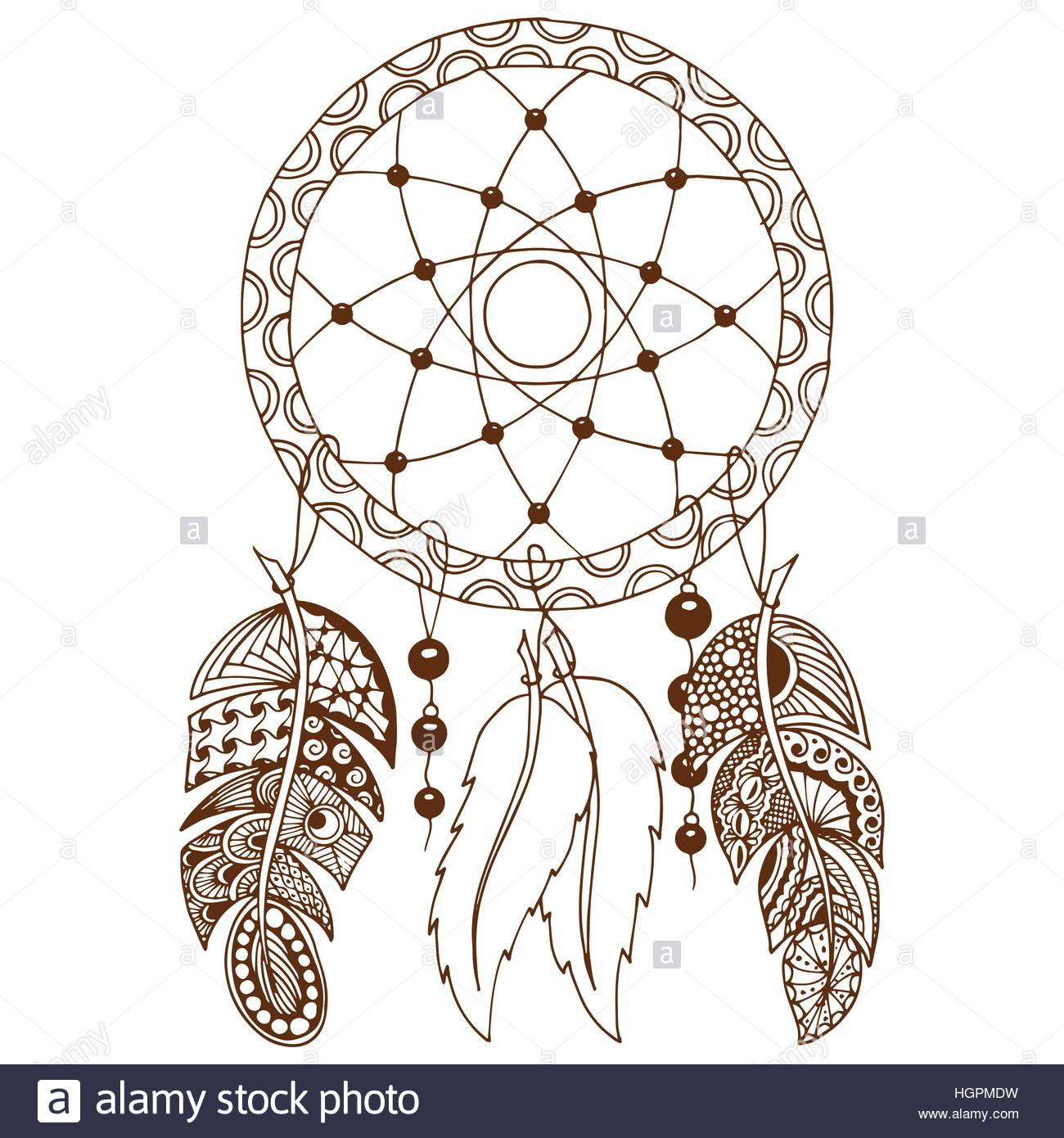 1300x1390 Hand Drawn Native American Indian Talisman Colored Dreamcatcher