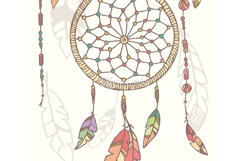 800x522 Hand Drawn Native American Dream Catcher, Beads And Feathers