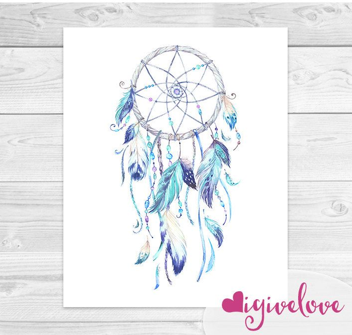 706x673 Watercolor Dreamcatcher Art Print