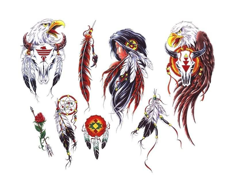 814x619 Native American Eagle And Feather Tattoos Needlework