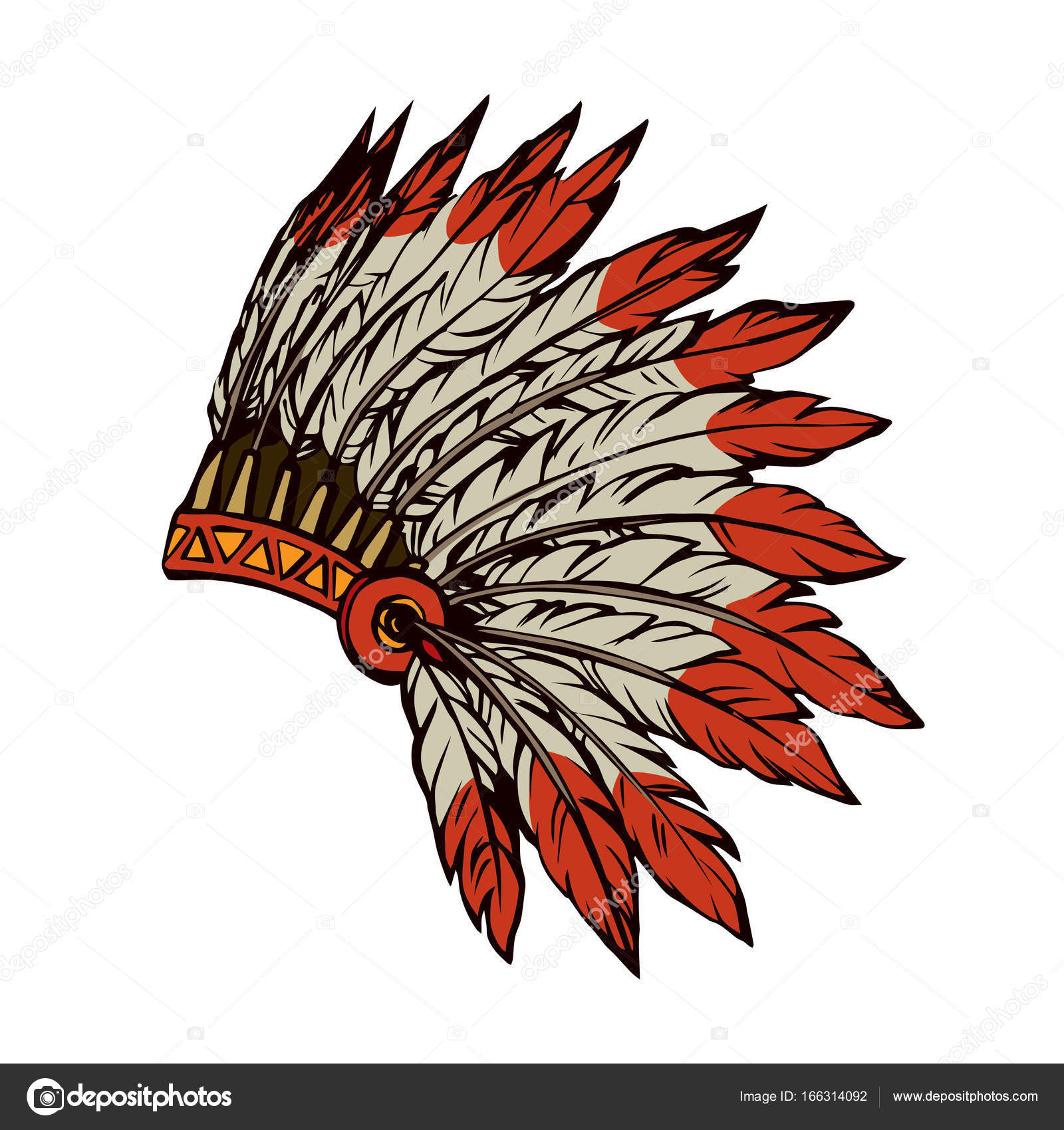 1600x1700 Native American With Feathers. Vector Drawing Stock Vector