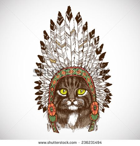 450x470 Maine Coon Cat Portrait With Native American Indian Chief