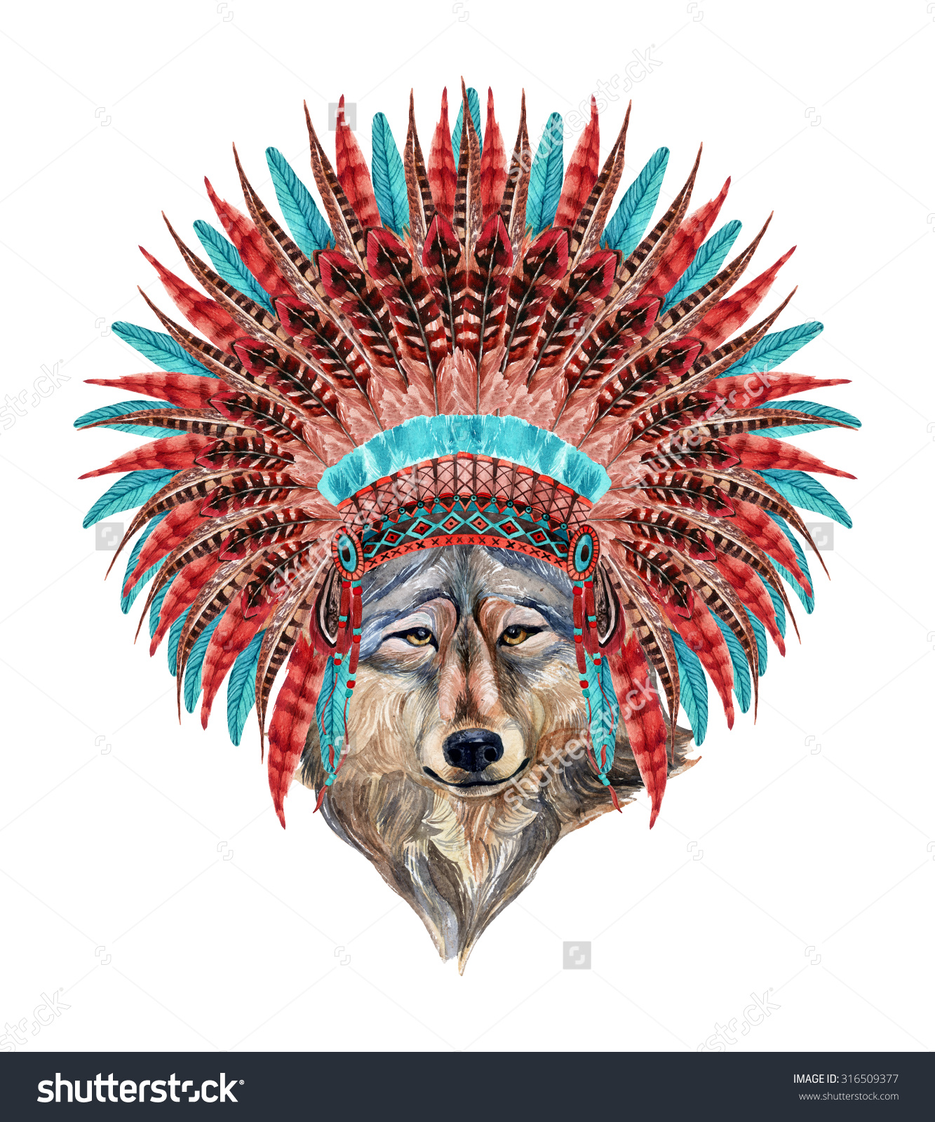 1333x1600 Wolf In Native American Headdress. Feathered War Bonnet And Wolf