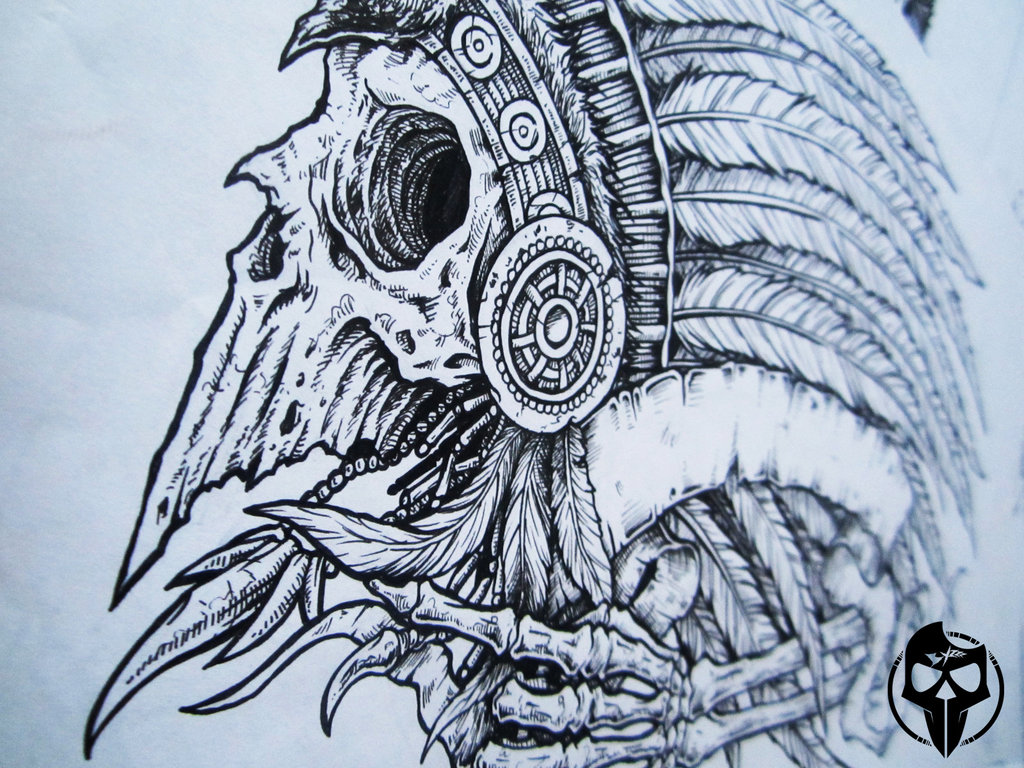 1d65f36e31ede Native American Skull Drawing at GetDrawings.com | Free for personal ...