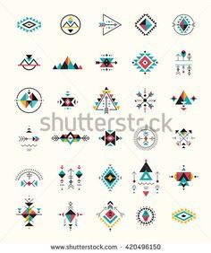 236x282 Native American Indians Tribal Symbols Set. Geometric Shapes Icons